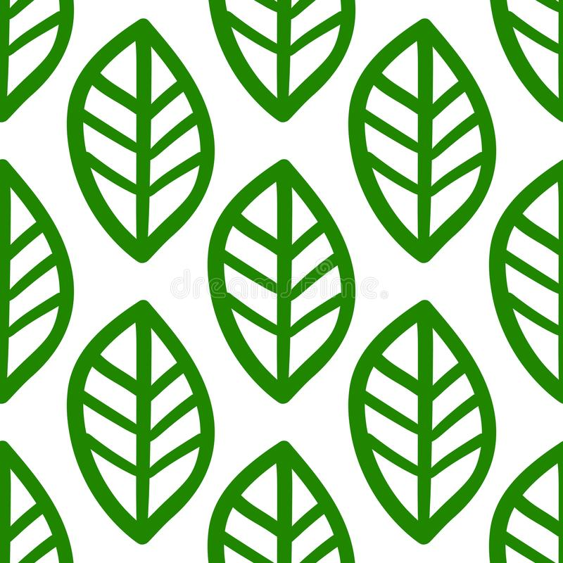 Green hand drawn leafs pattern on white background royalty free illustration