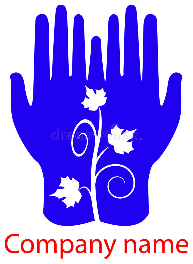 Leafs in hands royalty free illustration