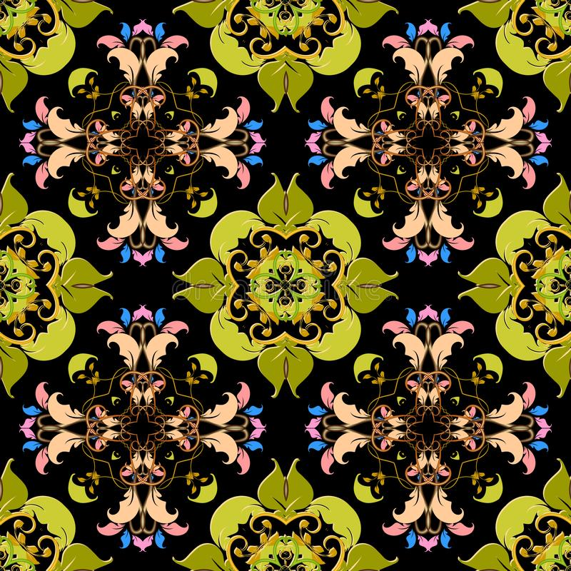 Leafy colorful floral vector seamless pattern. Bright ornamental Damask background. Flourish repeat backdrop. Baroque royalty free stock image