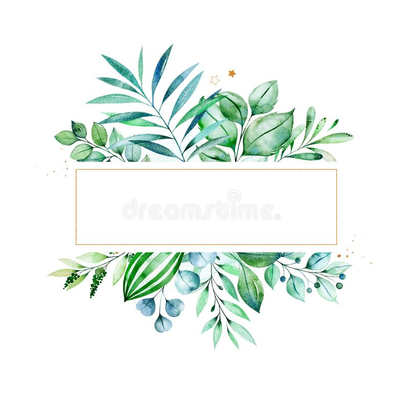 Leafy Frame Border With Succulent Plants,palm Leaves
