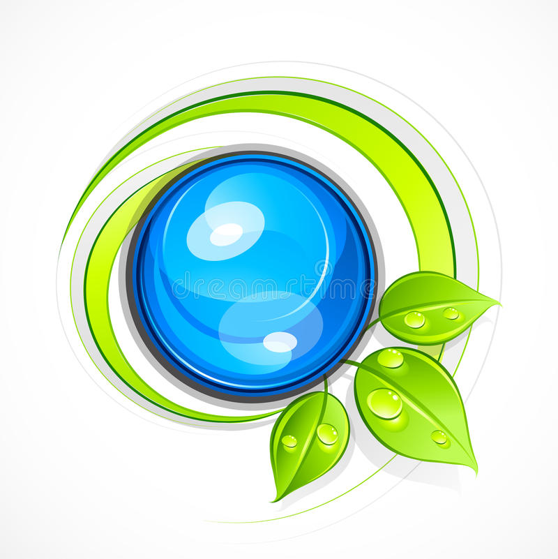Leafy green eco button. Illustration of blank blue button with dewy green leaves, isolated on white background vector illustration