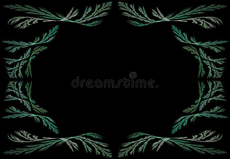 Leafy Teal or Green Fractal Frame With Black Copy stock image