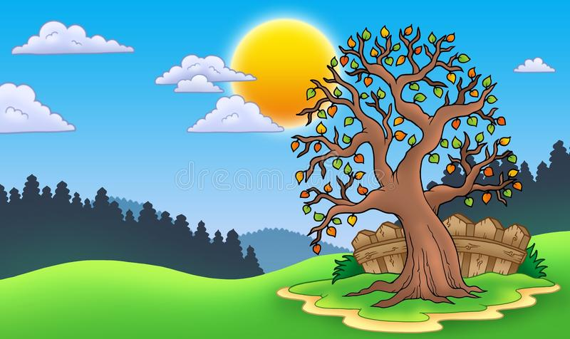 Download Leafy Tree In Autumn Landscape Stock Illustration - Illustration of meadow, drawing: 16048954