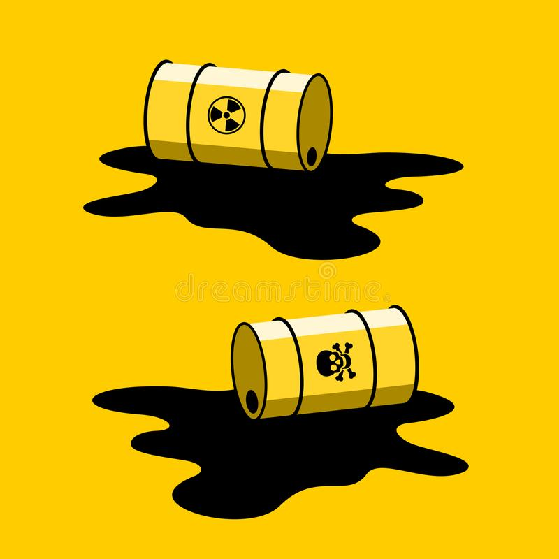 Leak of radioactivity and toxicity, contamination and pollution of environment. Barrel with radioactive and toxic substance is spilled. Leak of radioactivity and stock illustration
