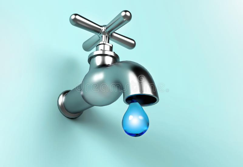 Leaking Faucet and drop of water. Save Water concept stock illustration