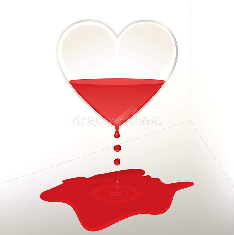 Leaking glass heart filled with blood royalty free stock photography