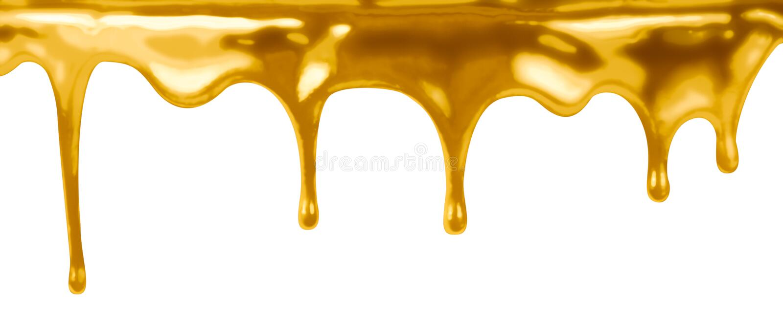 Leaking gold isolated on white. Leaking gold paint isolated on white royalty free stock photography