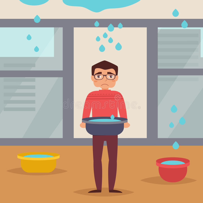 Leaking roof. Man stands. With basin. The water flows from the ceiling. Vector illustration. Cartoon character. . Drops royalty free illustration