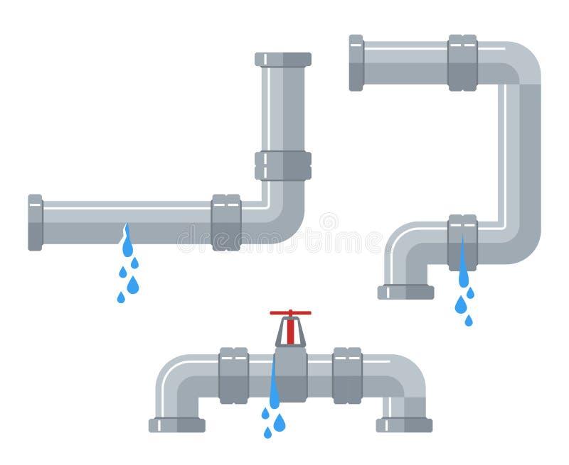 Leaking water pipes. Broken steel and plastic pipeline with leakage, leaking valve, dripping fittings vector set. Plumbing pipeline, pipe leaking broken royalty free illustration