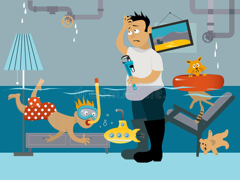 Leaky plumbing vector illustration