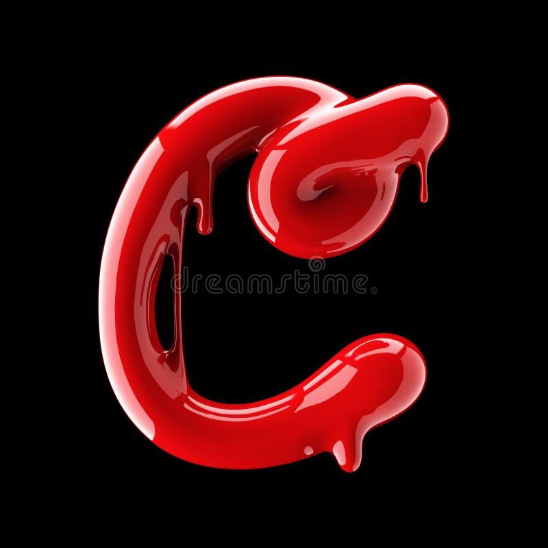 Leaky red alphabet on black background. Handwritten cursive letter C. 3d rendering vector illustration