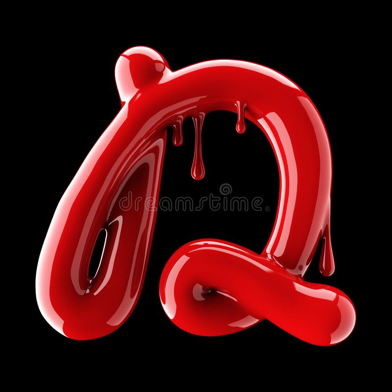 Leaky red alphabet on black background. Handwritten cursive letter D. 3d rendering royalty free illustration