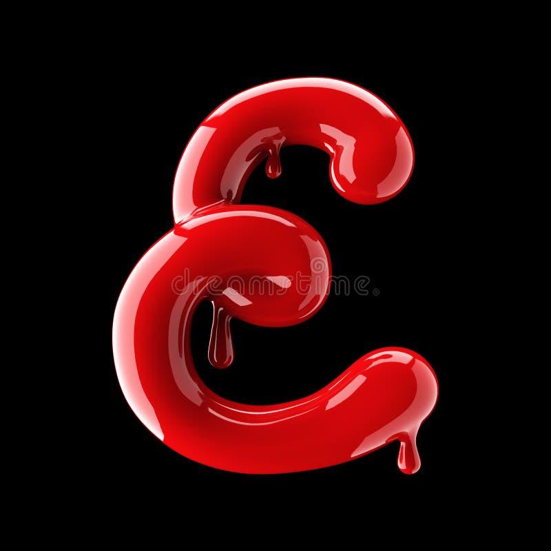 Leaky red alphabet on black background. Handwritten cursive letter E. 3d rendering stock illustration