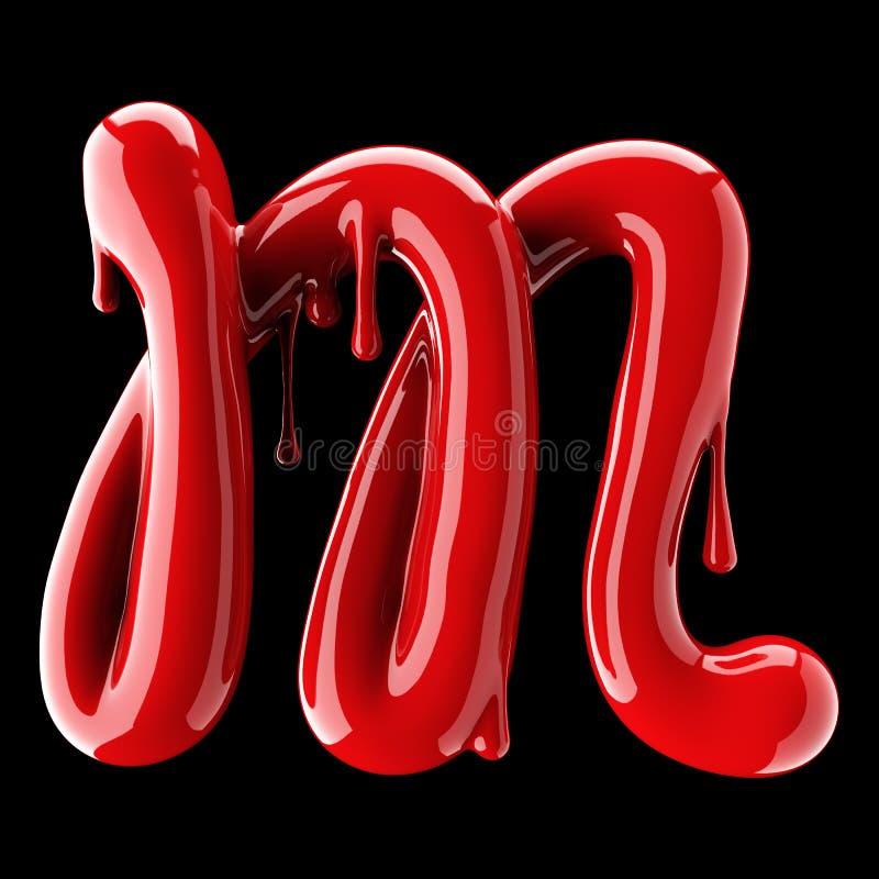 Leaky red alphabet on black background. Handwritten cursive letter M. 3d rendering stock illustration
