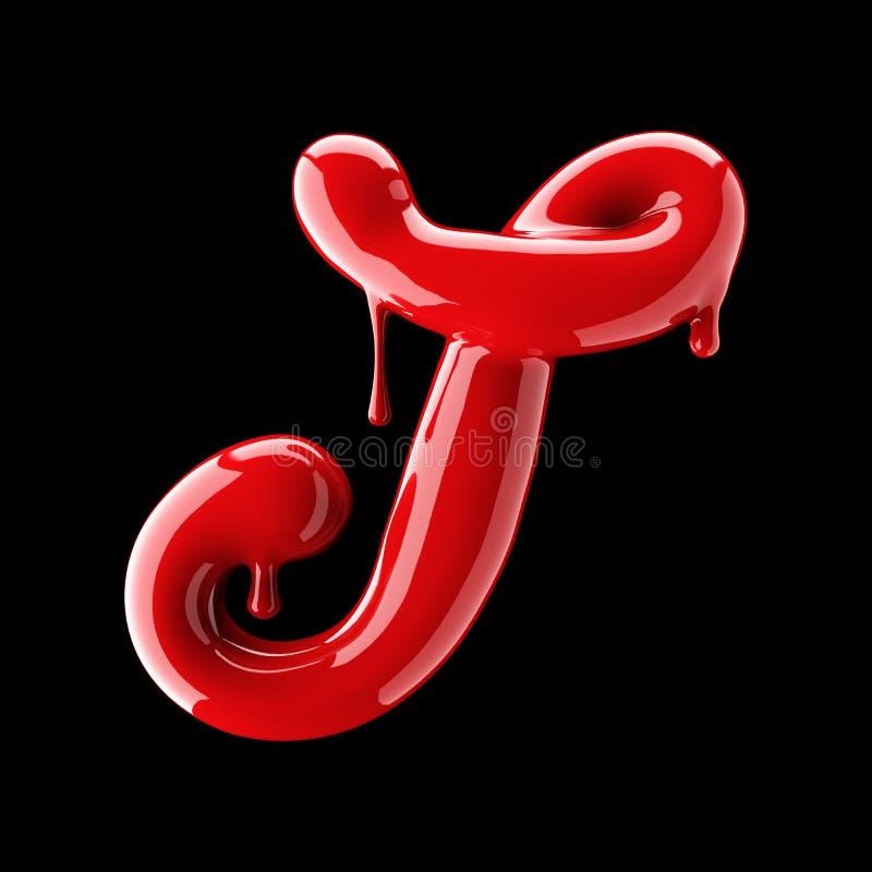 Leaky red alphabet on black background. Handwritten cursive letter T. 3d rendering royalty free illustration