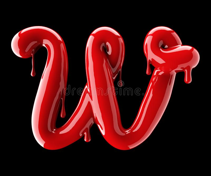 Leaky red alphabet on black background. Handwritten cursive letter W. 3d rendering stock photo