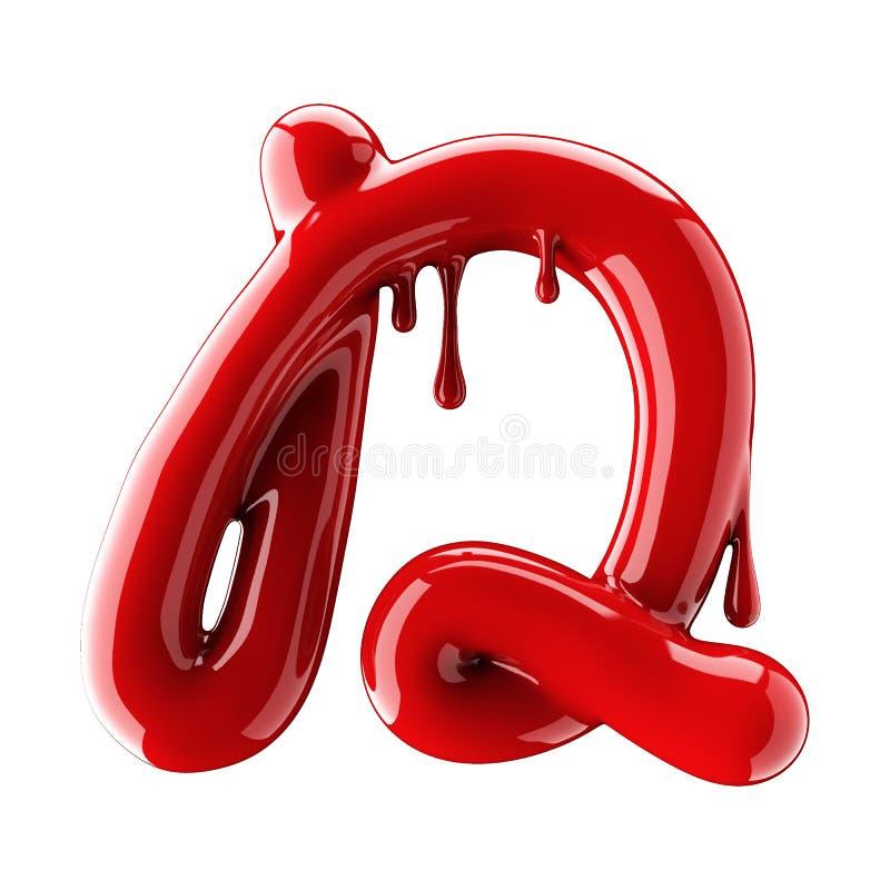 Leaky red alphabet isolated on white background. Handwritten cursive letter D. 3d rendering stock illustration