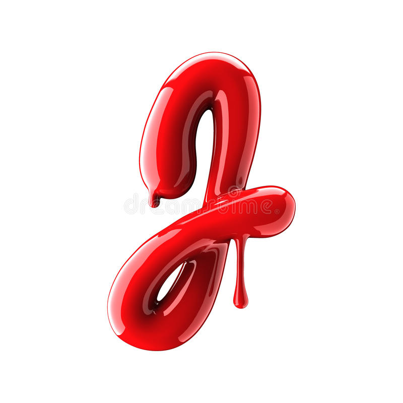 Leaky red alphabet isolated on white background. Handwritten cursive letter G. 3d rendering royalty free illustration