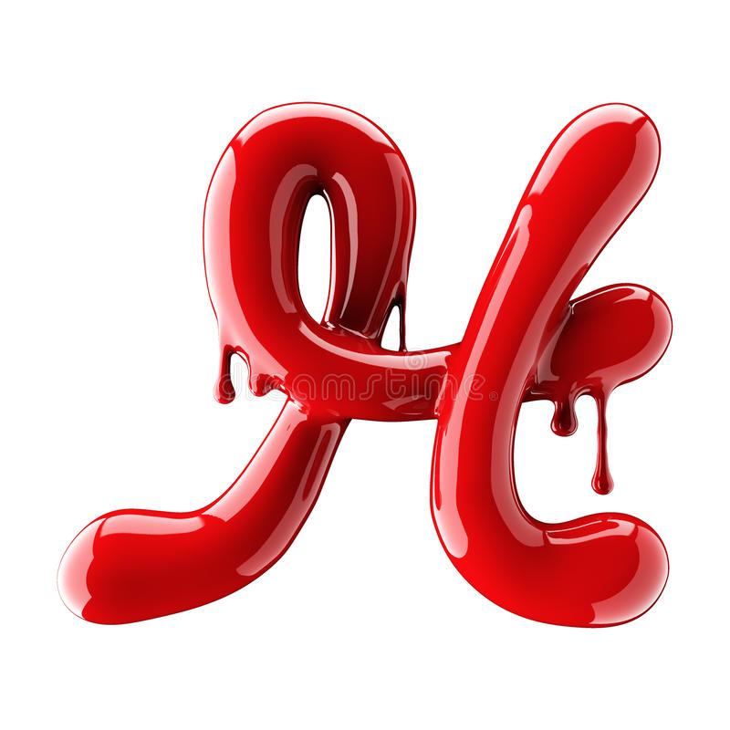 Leaky red alphabet isolated on white background. Handwritten cursive letter H. 3d rendering royalty free illustration