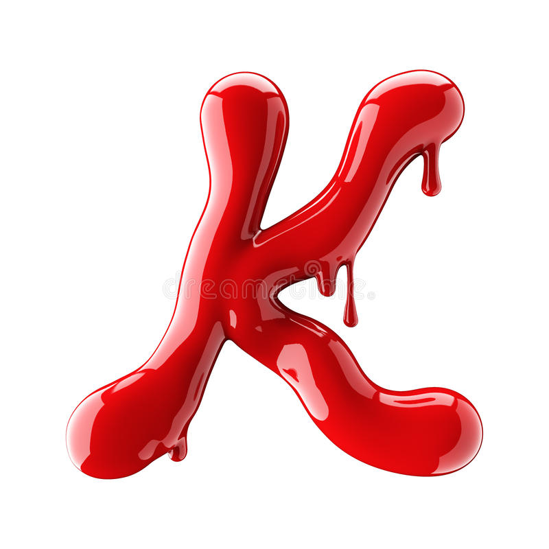 Leaky red alphabet isolated on white background. Handwritten cursive letter K. 3d rendering vector illustration