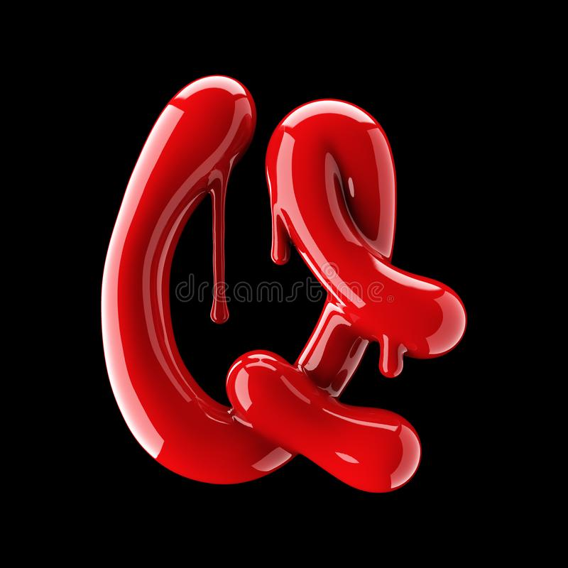 Free Leaky Red Alphabet On Black Background. Handwritten Cursive Letter Q. Stock Photo - 104019580