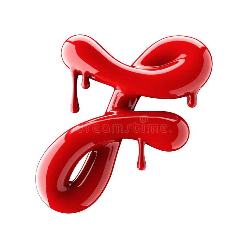 Leaky red alphabet on white background. Handwritten cursive letter F. 3d rendering royalty free illustration