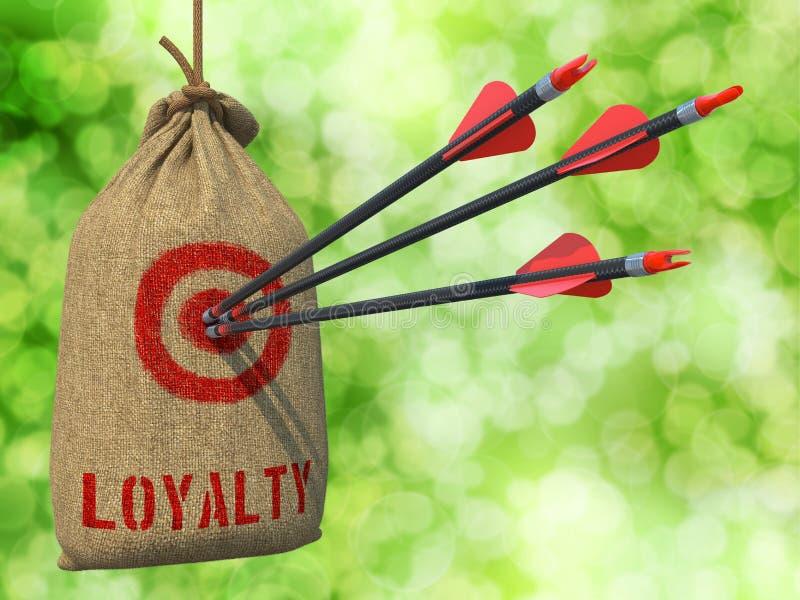 Lealtad - flechas golpeadas en blanco roja foto de archivo libre de regalías