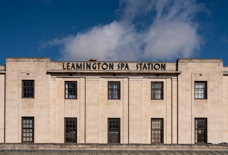 Leamington Spa Station entrance. Royal Leamington Spa, United Kingdom - March 17 2019:   The entrance to Leamington Spa railway station on Old Warwick Road royalty free stock photos