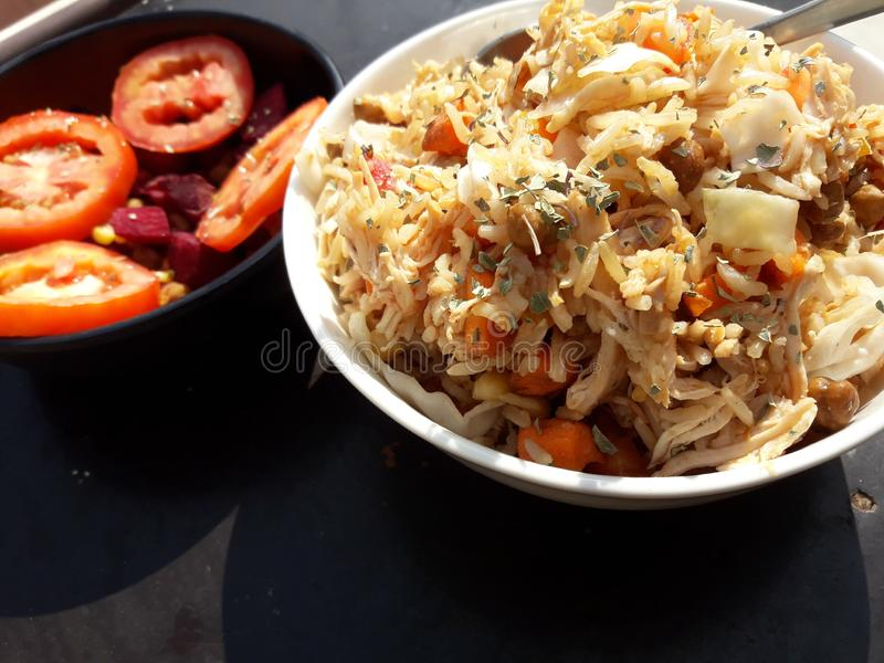LEAN CHICKEN BROWNRICE royalty free stock photo