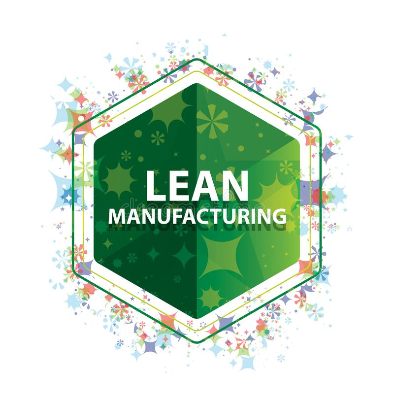 Lean Manufacturing floral plants pattern green hexagon button. Lean Manufacturing Isolated on floral plants pattern green hexagon button stock photography