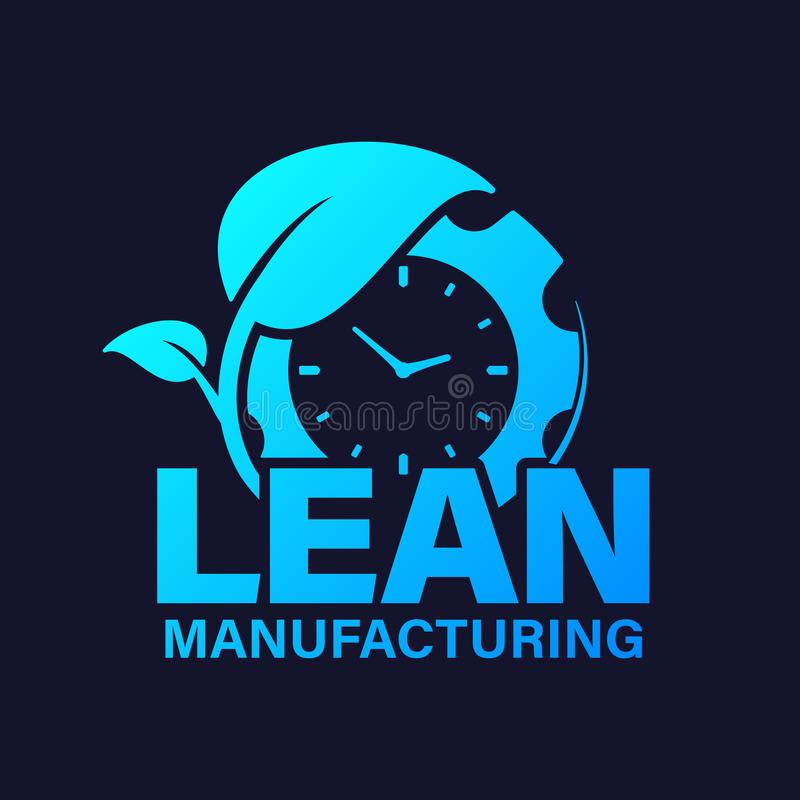 Lean manufacturing icon vector design. Gear with watch and leaf concept for organization, business, management website vector illustration