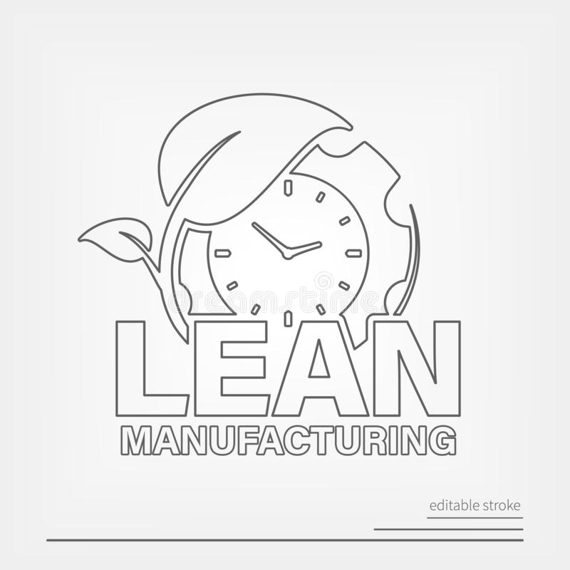 Lean manufacturing line vector icon with editable stroke.  stock illustration
