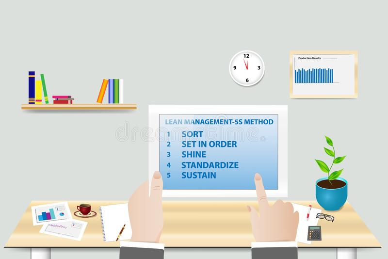 Lean Manufacturing 5S methodology concept in office. Lean Manufacturing 5S methodology concept showing manager in his workplace holding tablet with 5S vector illustration
