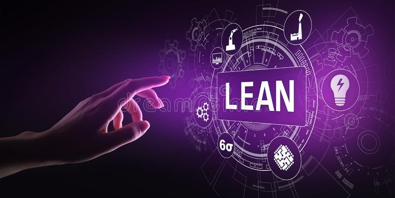 Lean, Six sigma, quality control and manufacturing process management concept on virtual screen. Lean, Six sigma, quality control and manufacturing process royalty free stock photo