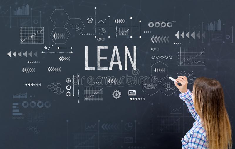 Lean with young woman. Writing on a blackboard royalty free stock photo
