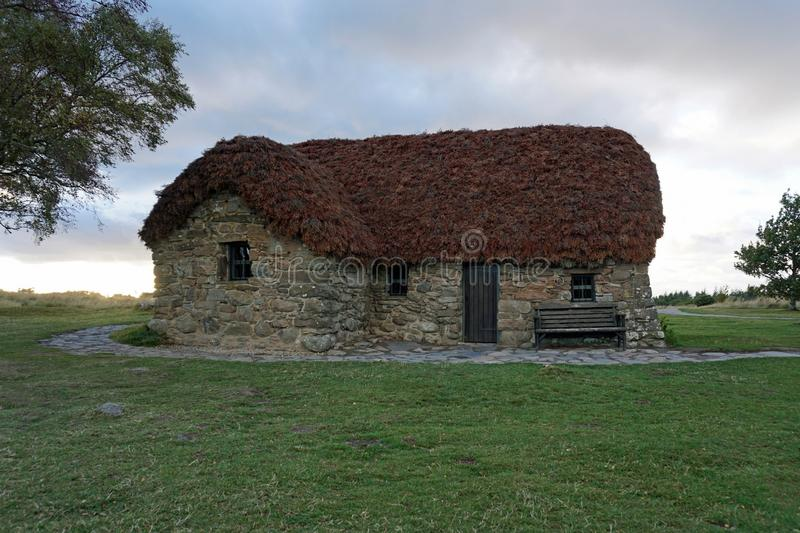 Leanach Cottage at Culloden Battlefield stock images