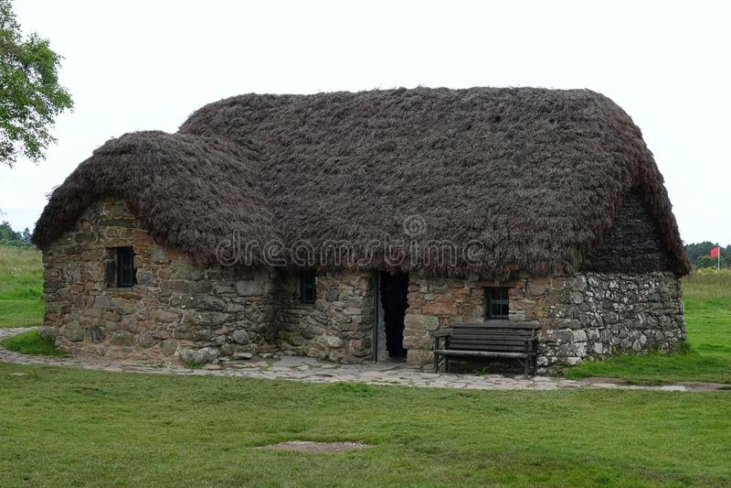 Leanachplattelandshuisje bij Culloden-Slagveld, Schotland stock foto's