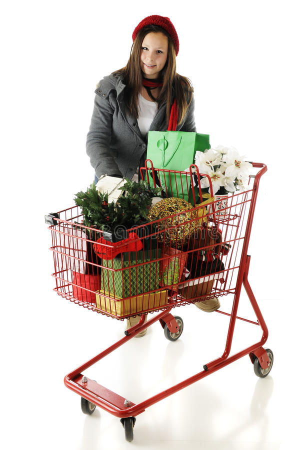 Leaning on the Christmas Cart royalty free stock images
