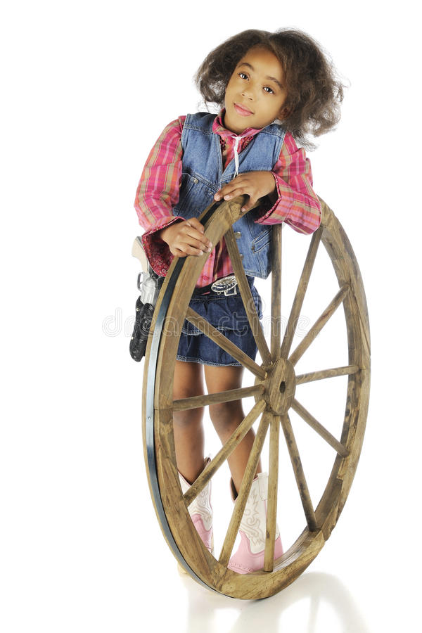 Download Leaning Cowgirl stock photo. Image of wagon, wheel, rustic - 36353738