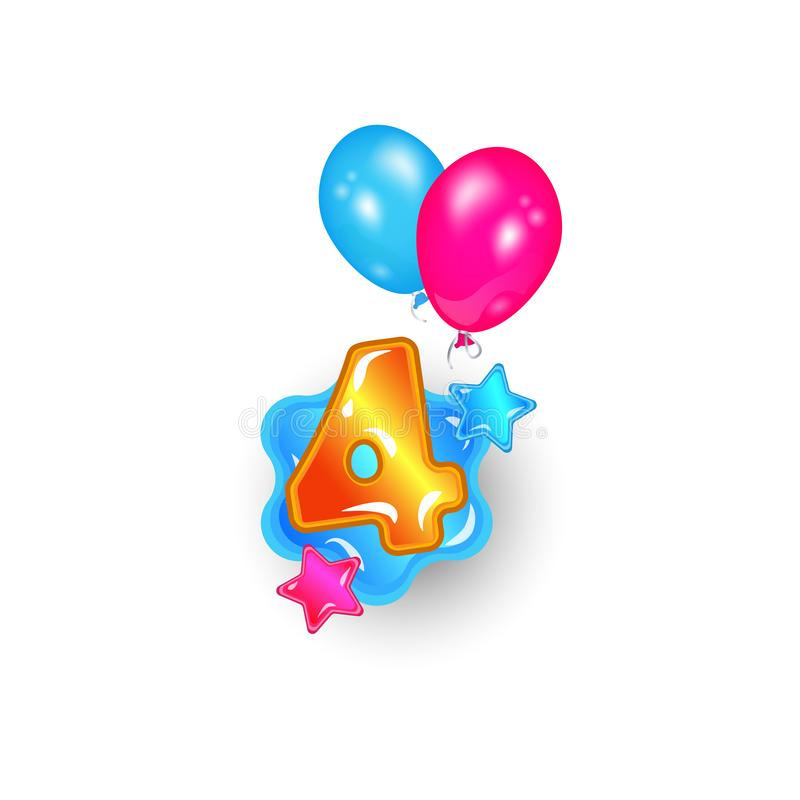 Leaning numbers - number 4 in fun cartoon font flying in air by colorful helium balloons. Child`s age birthday sign. Isolated digit four with glossy texture on vector illustration