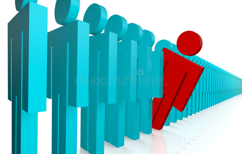 Leaning Out of Line. One person leaning out of a line-up of many people stock illustration