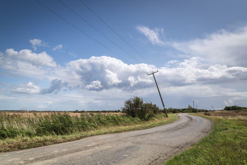 Leaning Telegraph Poles stockbilder