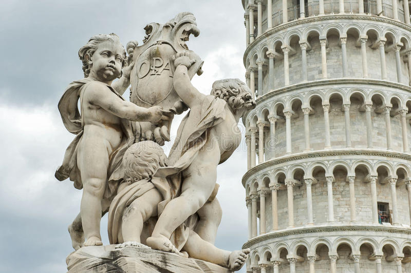 Leaning Tower of Pisa with Angels Statue in Black & White royalty free stock images