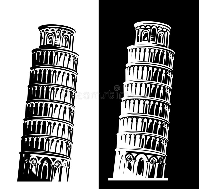 Leaning tower of pisa black and white vector design set stock illustration