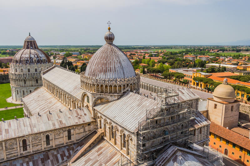 Leaning tower and Pisa cathedral in a summer day in Pisa, Italy royalty free stock images