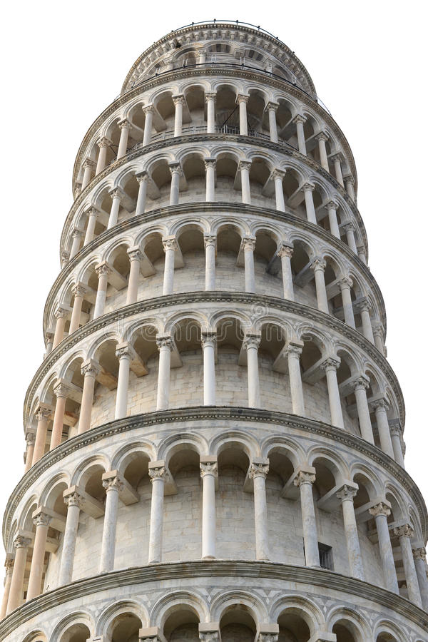 Leaning Tower of Pisa isolated on white background stock photo