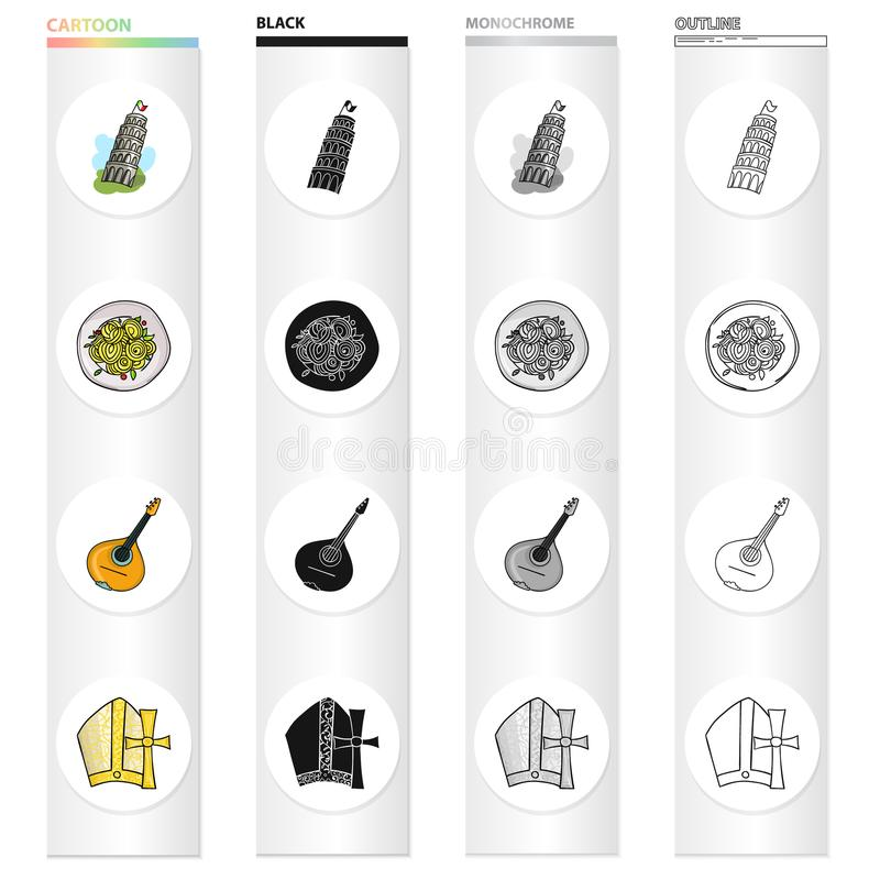 The Leaning Tower of Pisa, Italian pasta, mandolin, an attribute of Catholicism. Italy set collection icons in cartoon. Black monochrome outline style vector vector illustration