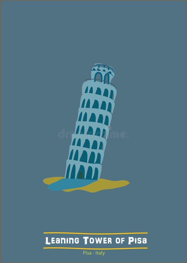 Leaning tower of pisa. The Leaning Tower of Pisa (Italian: Torre pendente di Pisa) or simply the Tower of Pisa (Torre di Pisa) is the campanile, or freestanding stock illustration