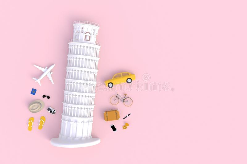 Leaning Tower of Pisa, Italy, Europe, Italy Architecture, Top view of Traveler's accessoires abstract, minimale roze achtergrond royalty-vrije illustratie
