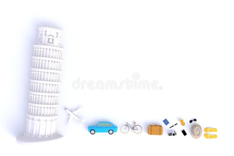 Leaning Tower of Pisa, Italy, Europe, Italian Architecture, Top view of Traveler`s accessories abstract minimal white background stock illustration